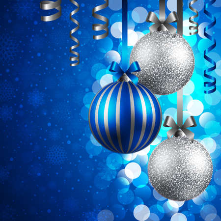 christmas background with blue and silver baubles