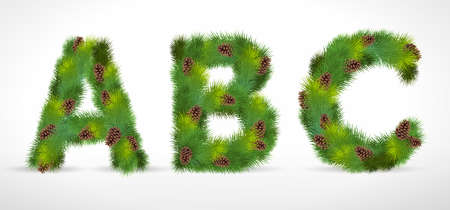 ABC,  Christmas tree font Vector