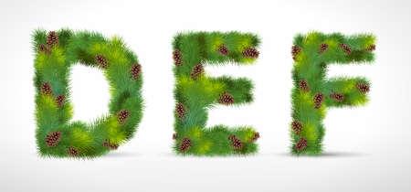DEF,christmas tree font Vector