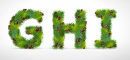 GHI, Christmas tree font Vector
