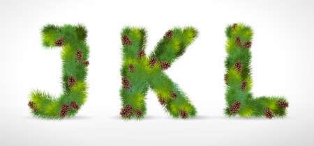 JKL, christmas tree font Vector