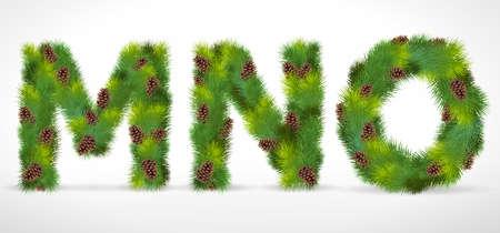 MNO, Christmas tree font Stock Vector - 8287345