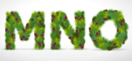 MNO, Christmas tree font Vector