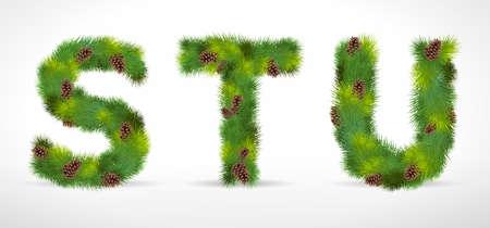 STU, Christmas tree font Vector