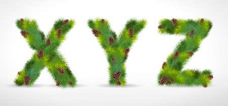 XYZ,  Christmas tree font Stock Vector - 8287342