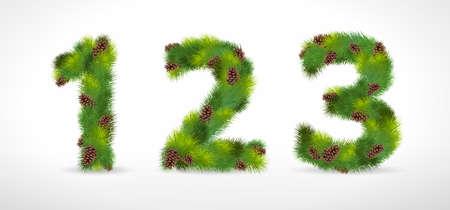 123,  Christmas tree font Vector