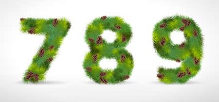 789,  christmas tree font Vector