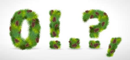 coma: Christmas tree font Illustration