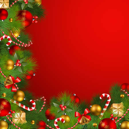 bronze: christmas background with baubles and christmas tree Illustration