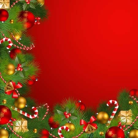 canes: sfondo Natale con Bagattelle e albero di Natale Vettoriali