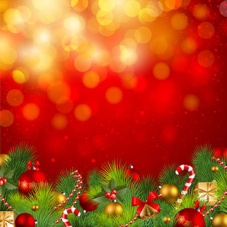 garlands: christmas background with baubles and christmas tree Illustration