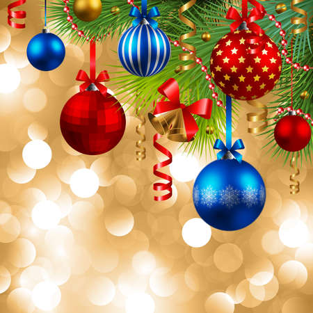 christmas background with baubles and christmas tree Stock Vector - 8287359