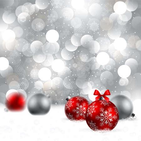 snowdrifts: sfondo Natale con palline Vettoriali