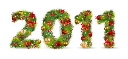 2011, vector christmas tree font with green fir and baubles Vector