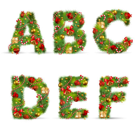 ABCDEF, vector christmas tree font with green fir and baublest Vector
