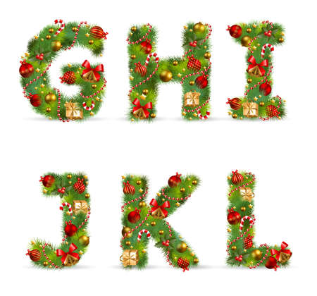 GHIJKL, vector christmas tree font with green fir and baublest Vector