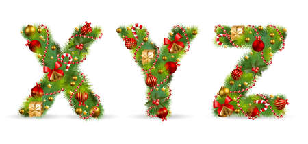 xyz: XYZ, vector christmas tree font with green fir and baublest