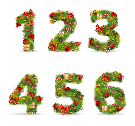 123456, vector christmas tree font with green fir and baubles Vector
