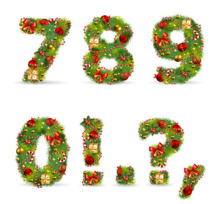 7890, vector christmas tree font with green fir and baubles Stock Vector - 8391571