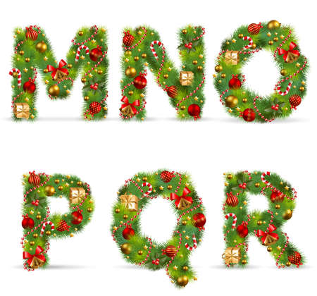 MNOPQR, vector christmas tree font with green fir and baublest Vector