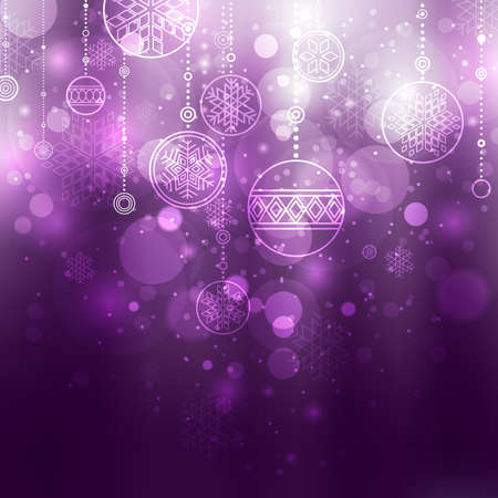 purple stars: christmas background with baubles