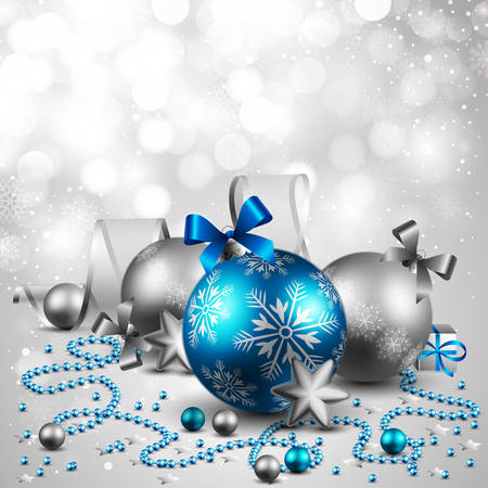 christmas background with baubles Stock Vector - 8434674
