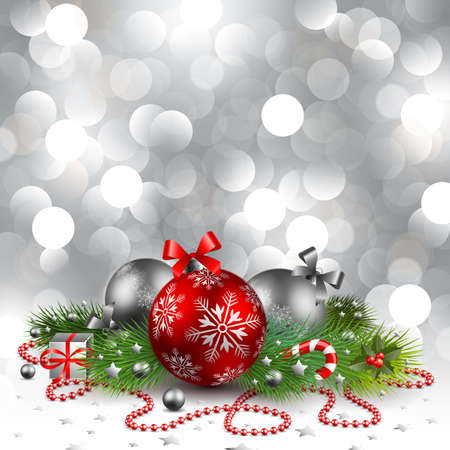 christmas background with baubles Stock Vector - 8434686