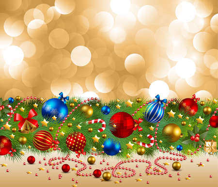 bell bronze bell: christmas background with baubles and christmas tree Illustration