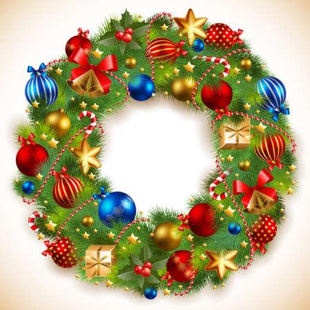 christmas garland: christmas garland with baubles and christmas tree
