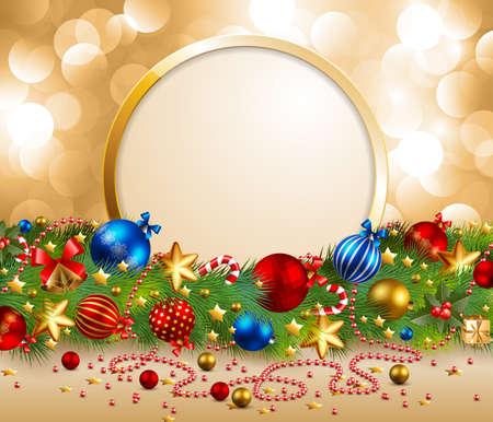 bell bronze bell: Guirnalda de Navidad con lugar para texto