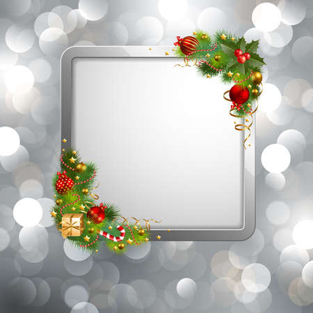christmas background with baubles and place for text Stock Vector - 8434685
