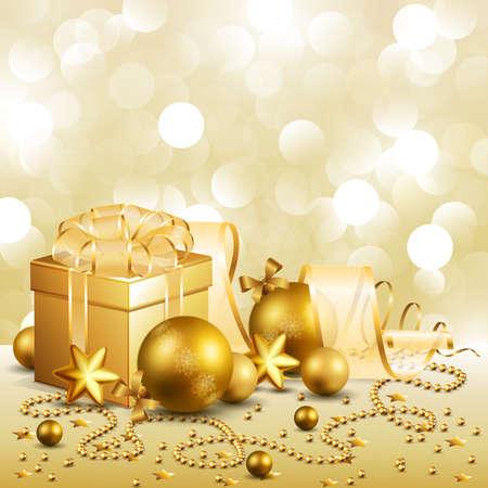 beautiful golden christmas background Stock Vector - 8434683