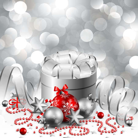 beautiful silver christmas background Stock Vector - 8434684