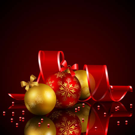 christmas background with baubles and ribbon