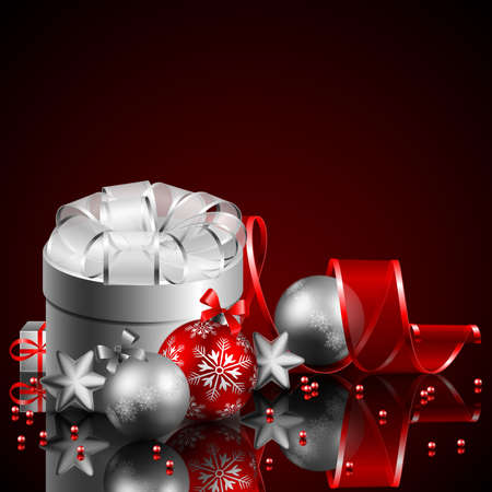 christmas background with present and baubles Stock Vector - 8434679