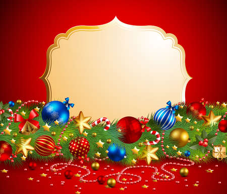 christmas garland with place for text Vector
