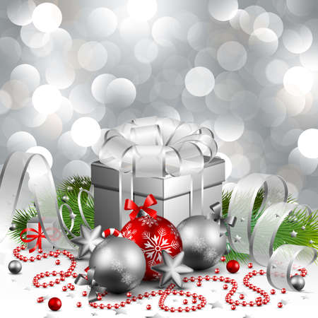 beautiful silver christmas background Stock Vector - 8448330