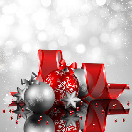 baubles: beautiful silverand red christmas background
