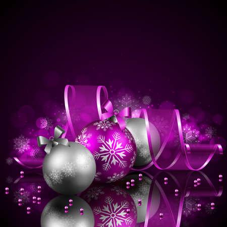 estrellas moradas: Fondo de Navidad con objetos Vectores