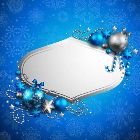 아름 다운 푸른 크리스마스 배경 텍스트 장소 일러스트
