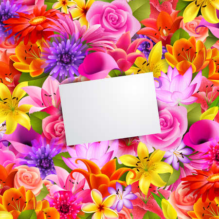 card with place for text on flower background Vector