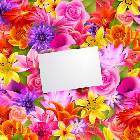 red and yellow card: tarjeta con lugar para texto sobre fondo de flor