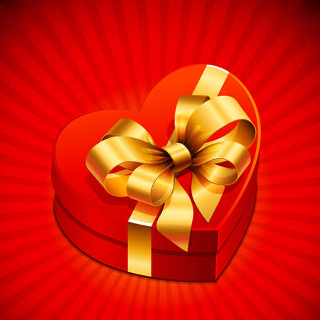 Red heart shape gift with golden bow Vector