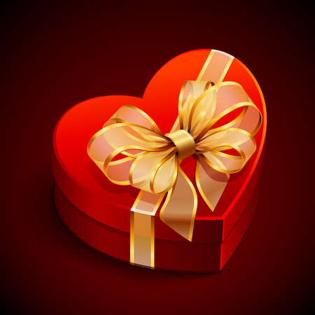 Red heart shape gift with golden bow Stock Vector - 8698742