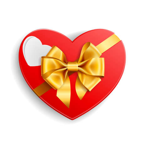 Red heart shape gift with golden bow Stock Vector - 8698735