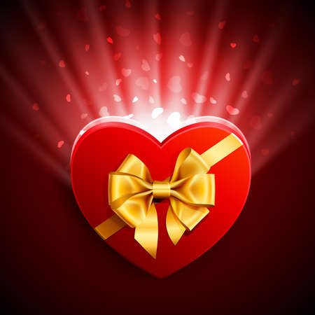 Red heart shape gift with light from inside Stock Vector - 8698747