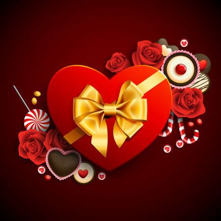 Red heart shape gift with sweets. Valentine background Vector