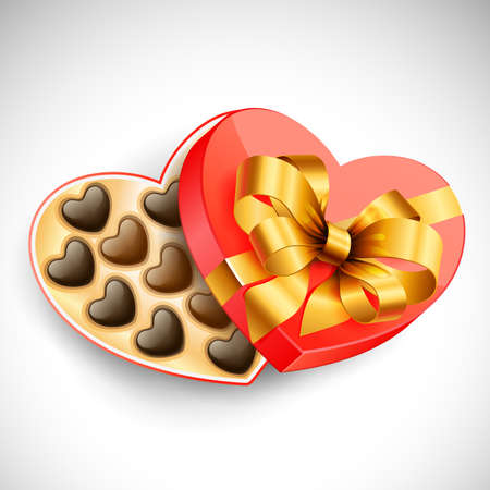 Heart shaped Valentine's box of chocolates Stock Vector - 8698743