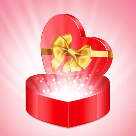 Red heart shape gift with light from inside Stock Vector - 8698745