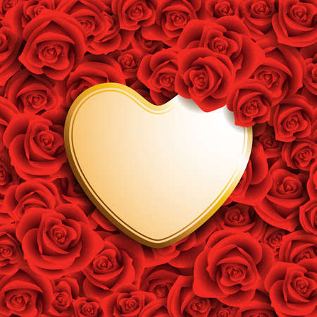 heart shaped card with place for text on red roses Vector